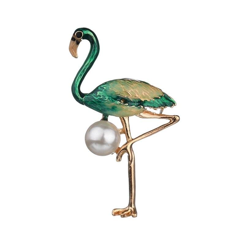 1 pcs colored drip flamingo brooch Korean version of pearl brooch brooch dripping cartoon animal brooch
