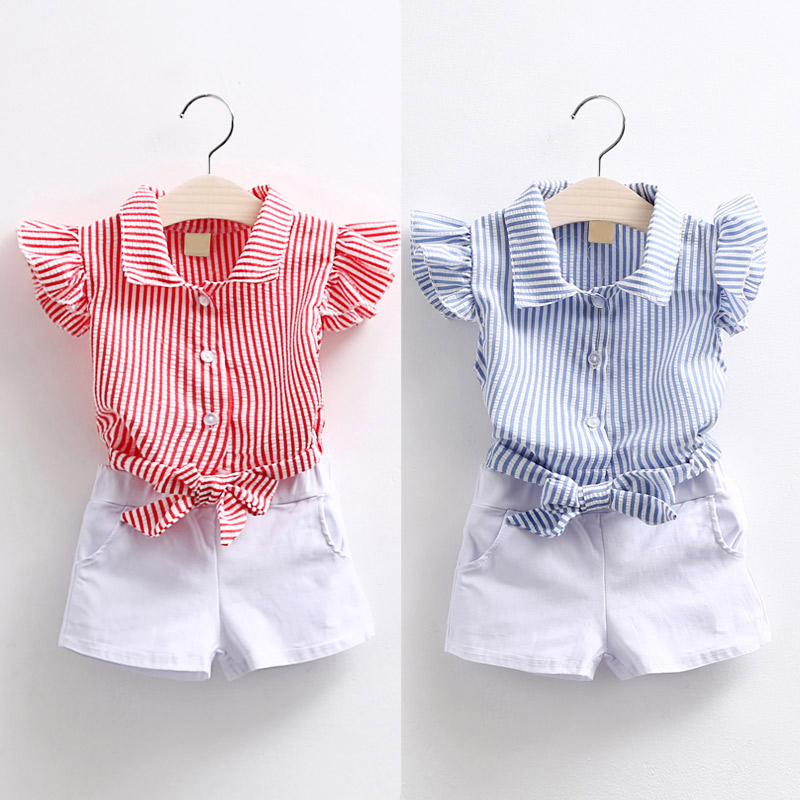 Kids Clothes Girls Summer Sets 2017 Fashion Sleeveless Turn Down Collar Striped Blouse+White Shorts Baby Girls Outfits 2-8T inc international concepts new white sleeveless linen blouse 2 $48 99 dbfl
