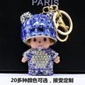 Diamond panda Monchichi Key buckle originality new pattern Automotive metal Key buckle Bag ornaments Car Pendant  Meng Qiqi Key