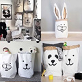 1Pc Heavy Kraft Paper Bag Children Room Organizer Bag Cartoon Animals Pattern Storage Bag For Toy And Baby Clothings 7zbb037-3
