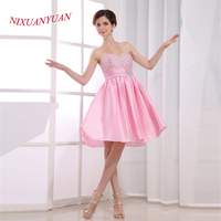 NIXUANYUAN Pink Taffeta Party Dress Sweetheart Beaded Cocktail Dresses 2017 Short vestidos de cocktail Real Photos