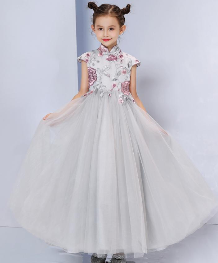 Bébé mère fille robe robe de bal gris princesse élégante femmes filles robe de Cocktail robe de soirée de mariage correspondant vêtements Y933 - 4