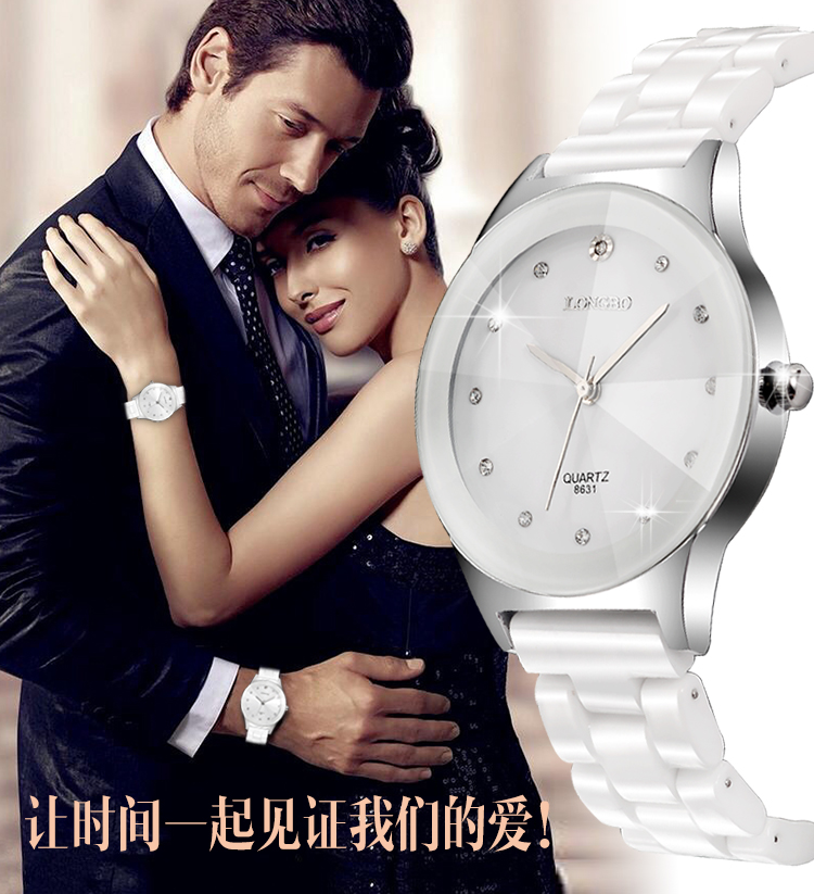 Watches Clock Rhinestone Ceramic Fashion Waterproof Men Woman Lovers' LONGBO Brand Quartz title=