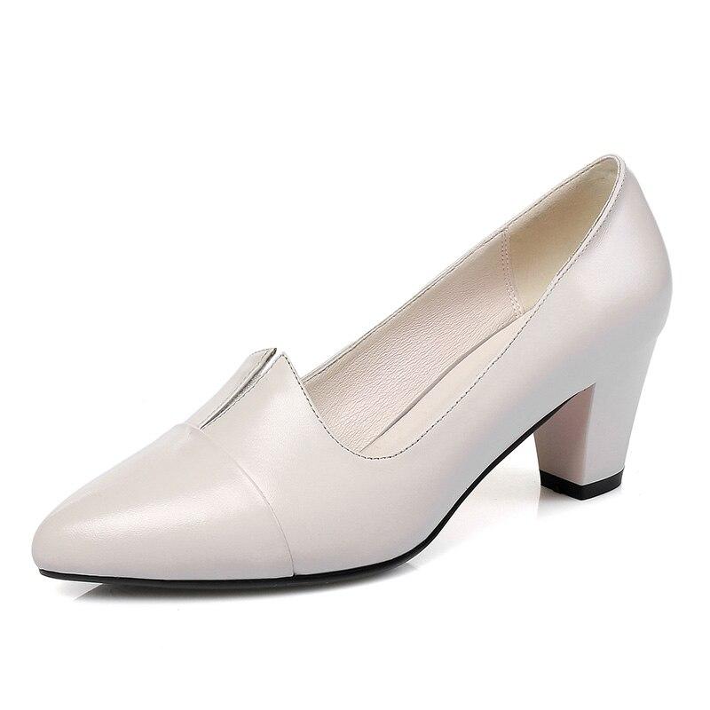 Frau Beige 2019 Heels Leder Kuh Echtes Schuhe Natürliche Sexy Spitz Ribetrini schwarzes Chunky Elegante Dame Pumpen Frauen Büro 0da1qaw