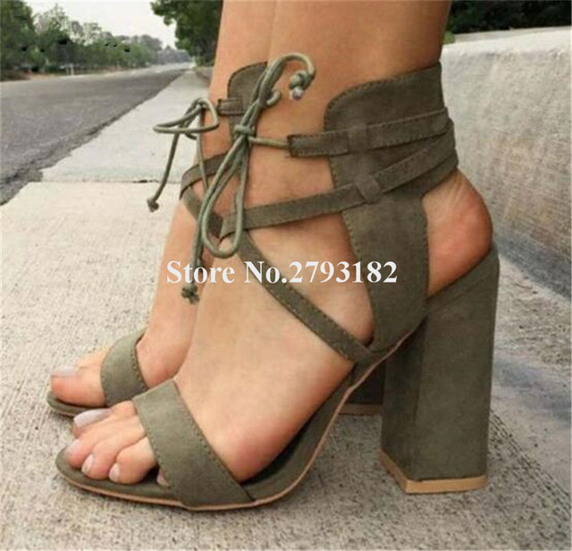 e3b6a6708db59 New Fashion Women Open Toe Suede Leather Chunky Heel Gladiator Sandals  Lace-up Blue Army Green Thick High Heel Sandals
