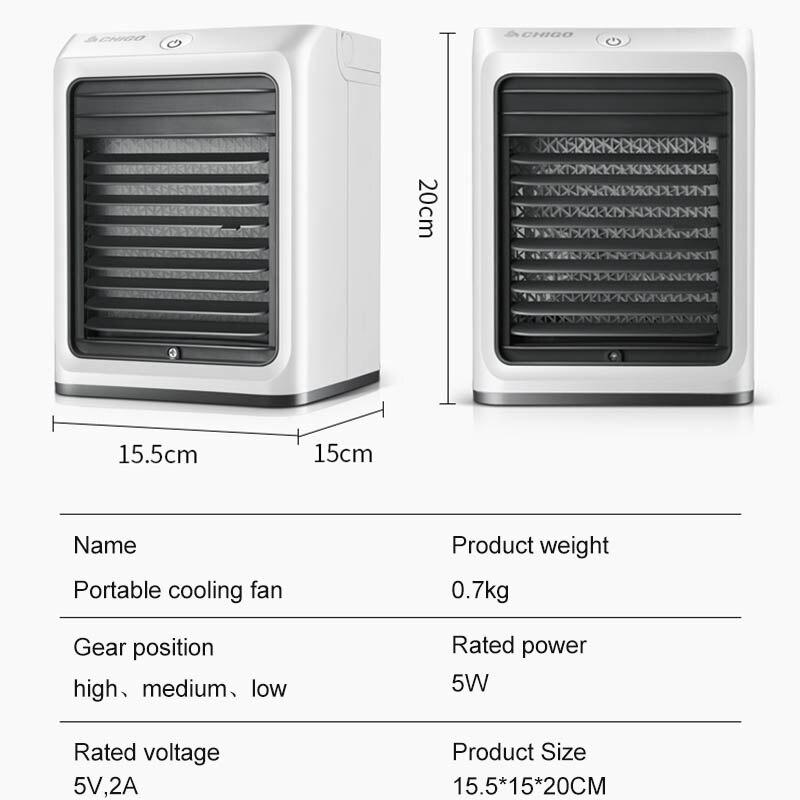 Kbxstart Mini ventilateur de climatisation 3 vitesses USB Portable petit ventilateur de refroidissement avec rideau de glace Air purifié haute qualité bureau à domicile - 6