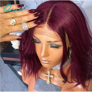 Image 4 - 99j Burgundy Wavy Short Bob Lace Front Human Hair Wigs With Baby Hair Pre Plucked Middle Part Brazilian Remy Hair Wig Qearl Hair