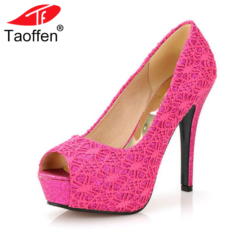 TAOFFEN free shipping high heel shoes women sexy dress footwear fashion lady female pumps P13067 hot sale EUR size 32-44 free shipping genuine leather high heel shoes platform fashion women dress sexy pumps r3368 hot sale eur size 34 39
