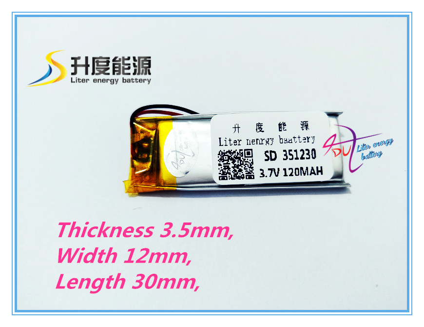 Bluetooth Battery Li-polymer 351230 120mah/3.7V, With 500 Times Cycle Life SD351230