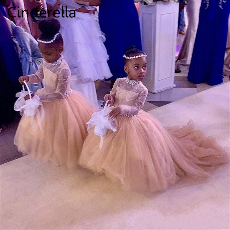 Cinderella Champagne High Neck Cute Long Sleeves Lace Applique Tulle   Flower     Girls     Dresses   Hot Little   Girls   Wedding Party   Dresses