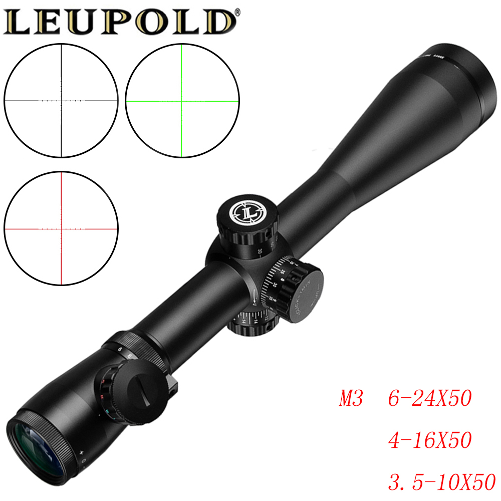 LEUPOLD M3  Long Range Riflescope 6-24X50/4-16X50/3.5-10X50 Optical Hunting Rifle Scope For Sniper Airsoft Airgun