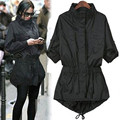 2016 Moda Mulheres Único Breasted Longo Trincheira Magro Preto Manga Comprida Pokets das Mulheres Outwear Trench Coat Para As Mulheres Xxxxl c219