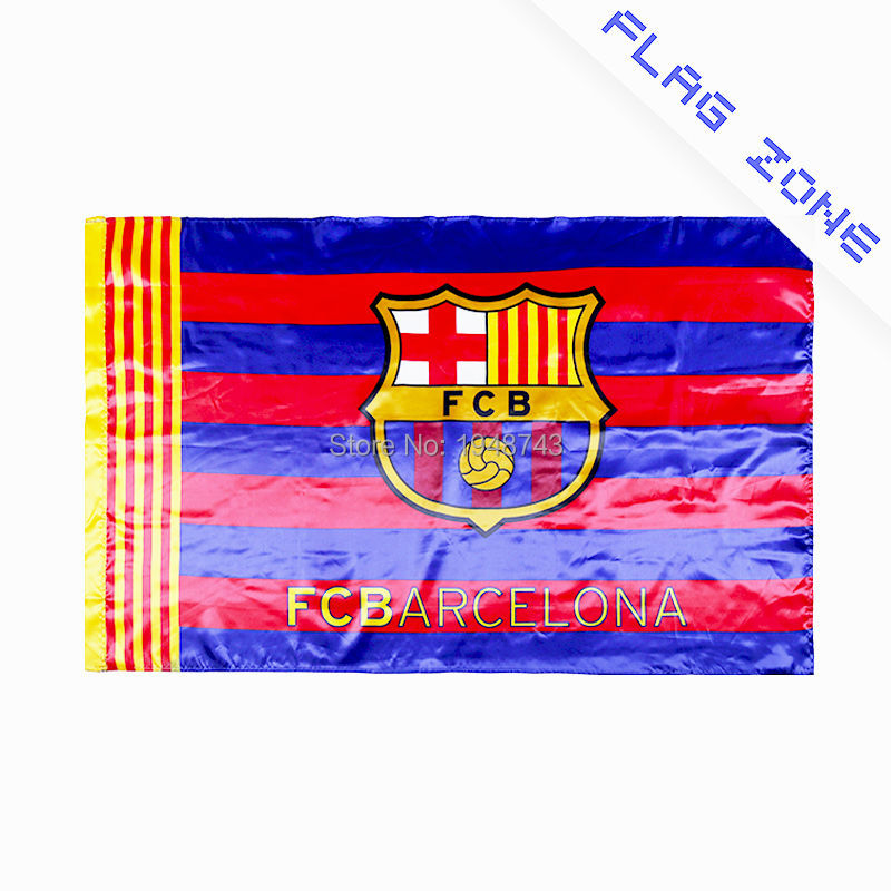 De FCB vlag Barcelona vlag Voetbalclub sport vlag banner Zijde en satijn 5 * 3 FT 150 * 90 CM Hoge kwaliteit