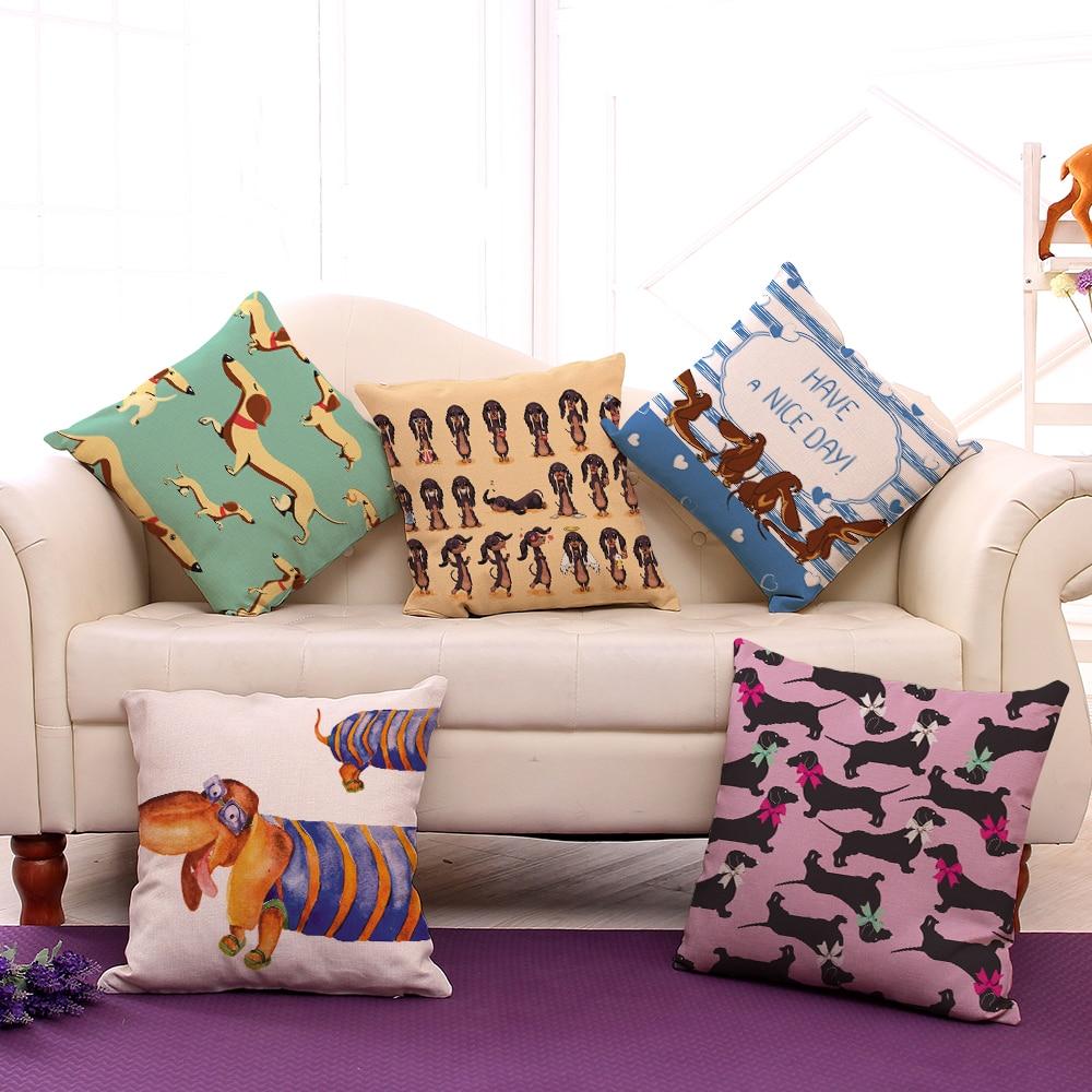 Home & Garden Miracille Square Dachshund Cushion Cover Dog Printing Linen Throw Pillows For Car Sofa Home Decorative Pillowcase Decoration