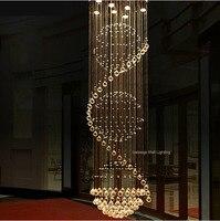 Large Crystal 6 8 13 Led Lamps Long Stairway Crystal Pendant Lamp Modern Europe Hotel Foyer