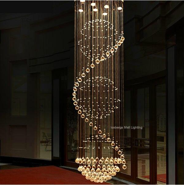 6813 Luxus Led Kristalldeckenleuchten Lange Stairway Kristall Dome