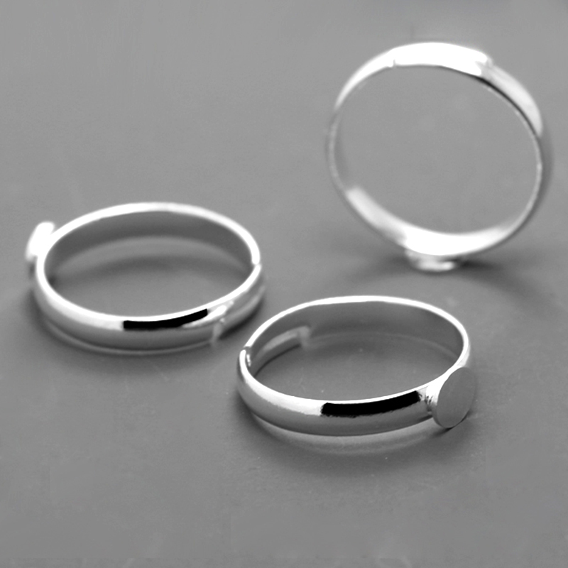 20pcs Wholesale Silver Plated Ring Setting Base Jewelry Parts With 5mm 6mm Flat Pad For Glass Cabochons/Domes/Resin