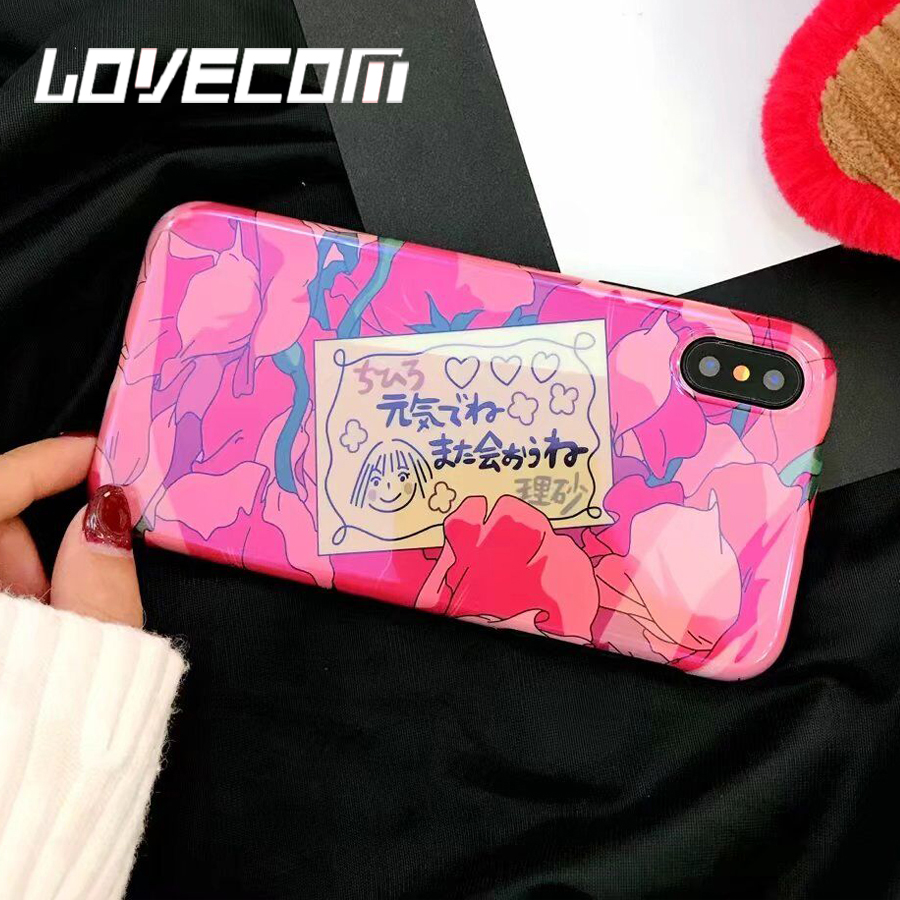 LOVECOM Blu-Ray Phone Case For iPhone 6 6S 7 8 Plus X Cool Romantic Rose Flowers Japanese Style Soft IMD Phone Back Cover Cases ...