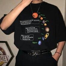 Solar System T-Shirt Geek T Shirt Korean Fashion Oversized Tee Hipsters Grunge S