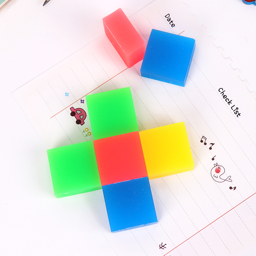 1PC Kawaii Stationery Positive Square 2B Pencil Rubber Eraser Student Prizes Gift Solid Color Soft Eraser School Supply