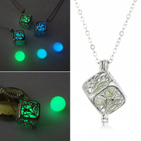 Bluelans Women's Luminous Bead Hollow Tree of Life Locket Pendant Charm Chain Necklace