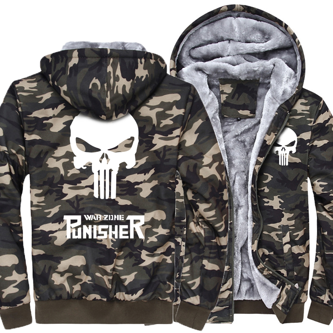 2018 the punisher Army Ggreen Camouflage casual brand streetwear thick jacket men funny hoodies homme skull tracksuit coat MMA
