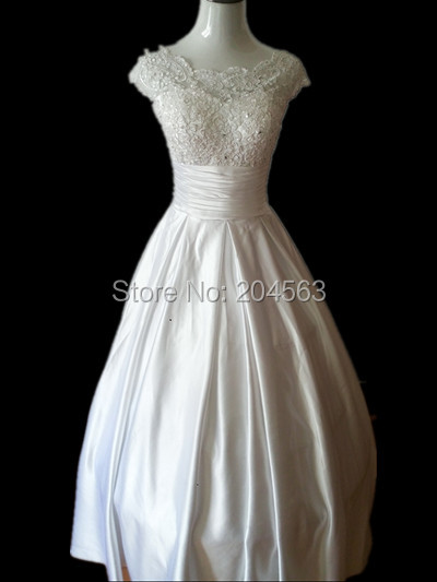 Free Shipping New Arrival Princess Wedding Dress with Cap Sleeves Custom size/color