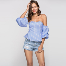 European Summer Fashion Woman's Blouses 2018 Female Off Shoulder Tops Sexy Flounced Tube Shirt Lantern Sleeves Ruffled Shirts red lace details bell sleeves flounced hem tops
