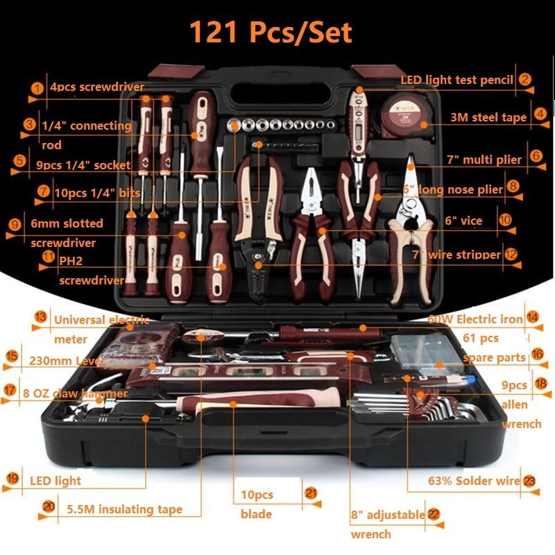 121Pcs New Arrival Multi Portable Electrician Repair Tool Set Home Repair DIY Using Universal Repair Tools Hardware Kit