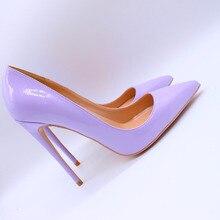 Free shipping fashion women Pumps lady Purple patent leather Pointy toe high heels shoes size33-43 12cm 10cm 8cm Stiletto heeled цены онлайн