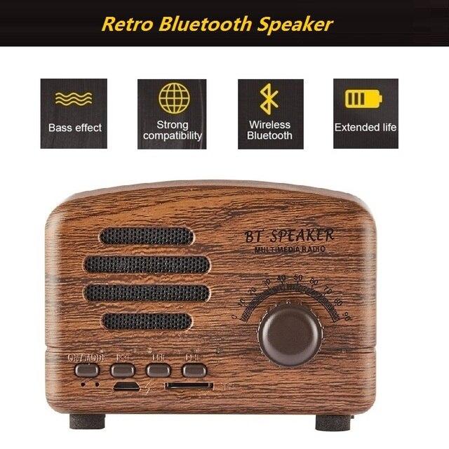 JOYTOP Retro Bluetooth altavoz portátil Mini altavoces compatible con tarjeta TF jugando Radio FM manos libres para teléfono PC inalámbrico altavoces