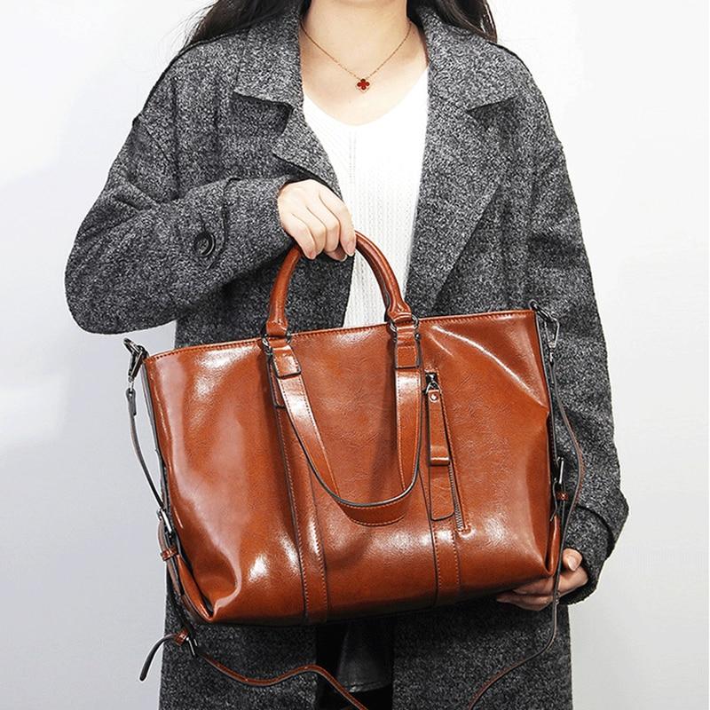 Burminsa dames sacs en cuir véritable grand huile cire bureau fourre tout Vintage serviette femme sacs à main épaule Messenger sacs pour femmes-in Sacs à poignées supérieures from Baggages et sacs    2