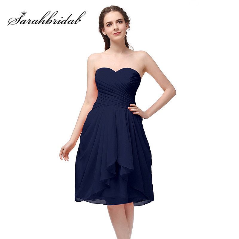 Simple Cocktail Dresses 2018 Beach Chiffon Pleated Sweetheart Knee Length Lace Up Back Prom Party Dress Formal Gowns OS247