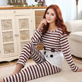 Womens Pajama Sets Long Sleeve Sleepwear Polyester Cartoon Striped Bear Nightwear Pajamas Tops and Pants trousers Size M L XL P7