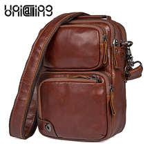UniCalling messenger bag men leather quality genuine male small mens shoulder casual