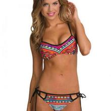 Novel Retro Chic Bikini National Stamp Tie Waist Split Swimsuit strappy bikini plaid trikini sexy bikinis