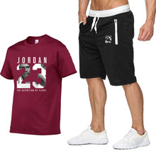 JORDAN 23 Print Tracksuit T Shirt+Shorts fashion Trends In 2019 Fitness Cotton Brand tshirts for Men Bodybuilding clothing M-XXL