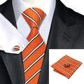 2016 Moda laranja & white Stripe Tie + Lenço + Abotoaduras 100% gravata de Seda Jacquard Gravatas Gravatas Para Homens de Negócios Formal Festa de casamento C-262
