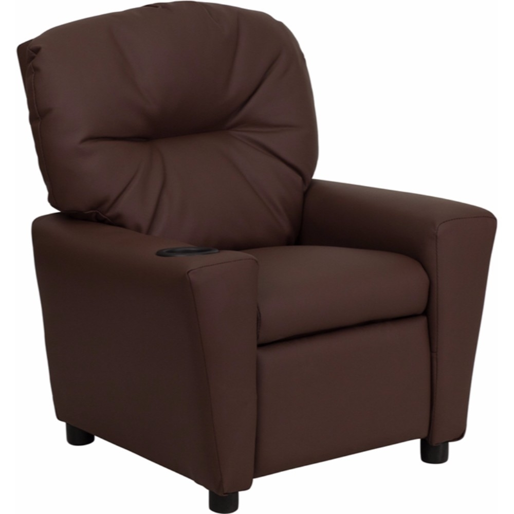 Flash Furniture Contemporary Brown Leather Kids Recliner with Cup Holder [863-BT-7950-KID-BRN-LEA-GG]