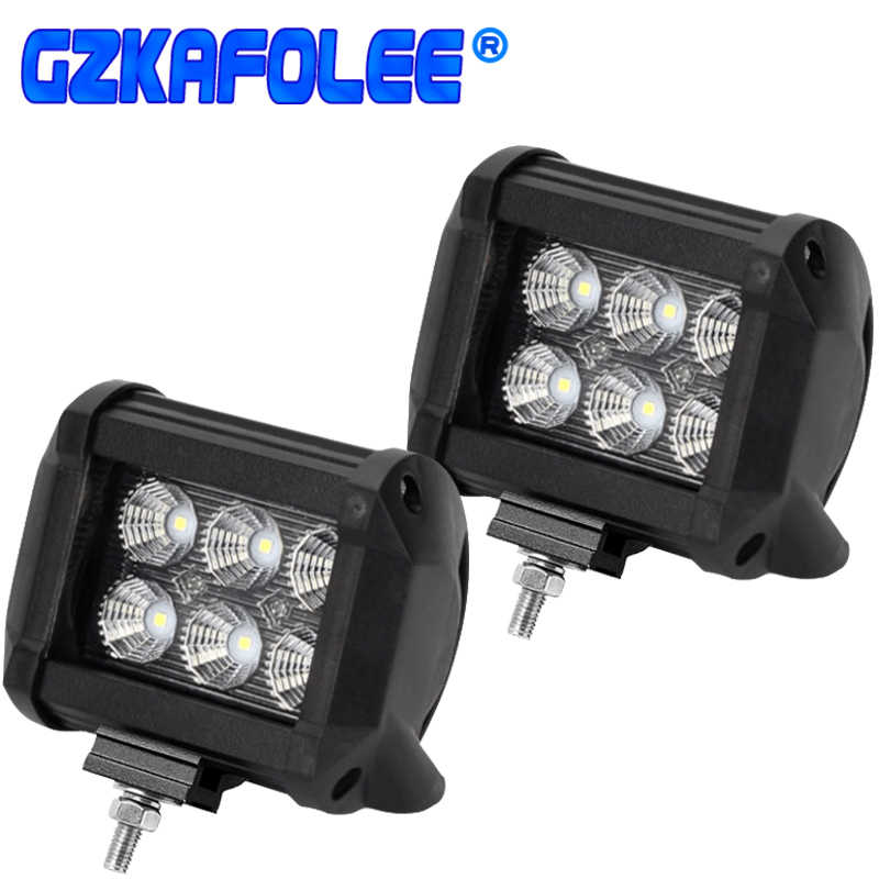18W Work Light Lamp 4x4 6000K Car Led Light Bar Spotlights Parking Lamp automobile Motorcycle Universal