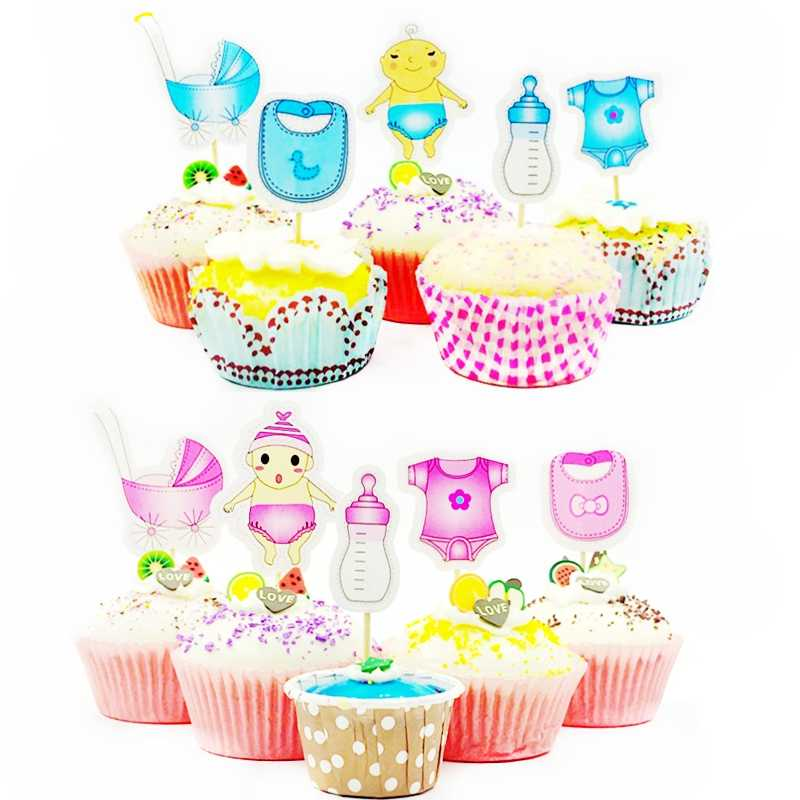 18 Pieces Baby Shower Boy Girl Cake Topper Tooth picks Food Party  Cocktail