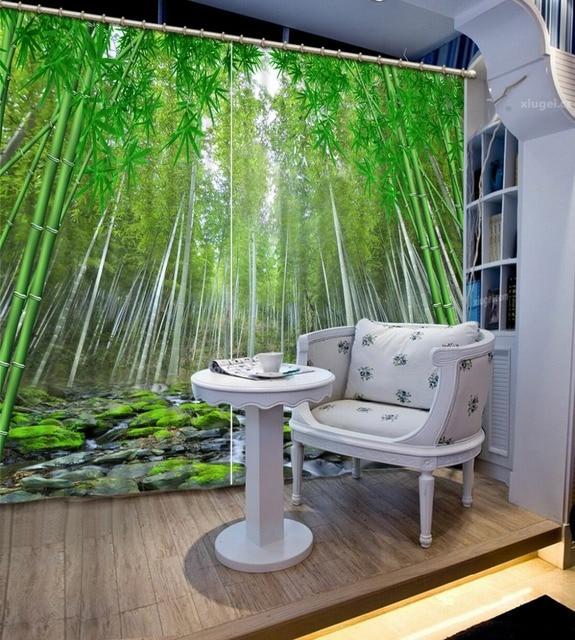 Grün Bauernhaus Stil 3D Vorhänge Bambus Wald Fenster Dekoration