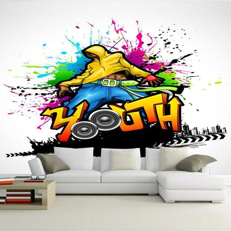 Custom mural wallpaper colorful music dance graffiti art for Custom mural painting