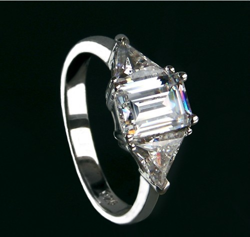3 CT Three Stones Women Engagement Rings SONA Simulate Diamond Wedding Rings sterling Silver white gold