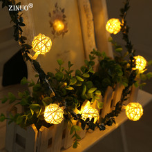 ZINUO 2M 20LEDs Garland Rattan Ball With Leaf LED String Праздничные огни Рождественский гирлянда AA Аккумулятор Light String Fairy Lights