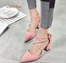 shorha New Sandals Women Shoes Sexy Pointed Toe Pumps Womens Green Ladies Shoe High Heels Wedding Plus Size 35-40(China)