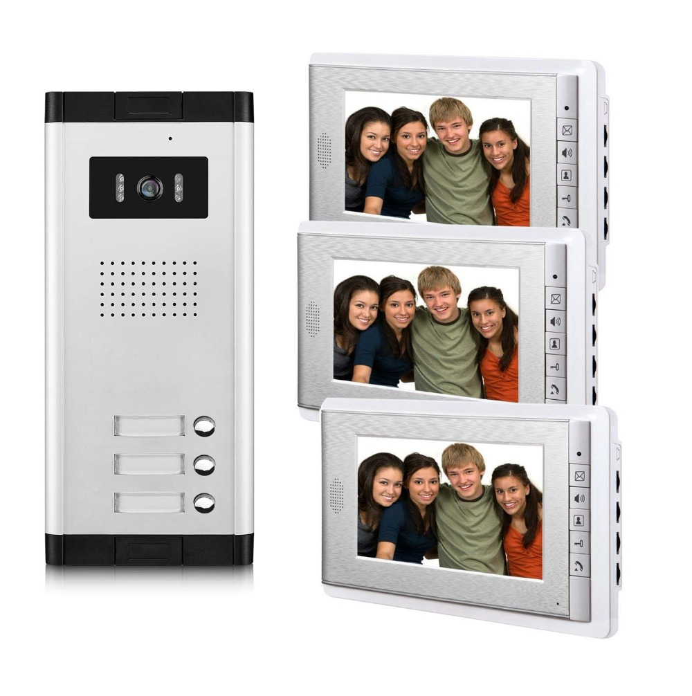 2/3/4 Unit Apartments Video Intercom System 7 Inch Video Door Phone Kit Video Doorbell For For 2-4 Household Apartment