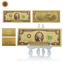 Billete de oro de 24k WR americano de colores coleccionable de 2 dólares de dinero falso Souvenir regalos calidad mundial papel dinero con soporte