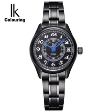IK Luxury Brand Number Scale Calendar Stainless Steel Band Automatic SelfWind Movement Bracelet Clasp Hardlex Window Women Watch