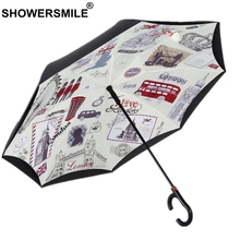 SHOWERSMILE Automatic Reverse Umbrella British Style Windproof Inverted Folding Double Layer Women Men Car